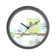 Bright Eyes Owl in Tree Wall Clock