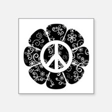 "Peace Symbol Flower Square Sticker 3"" x 3"""