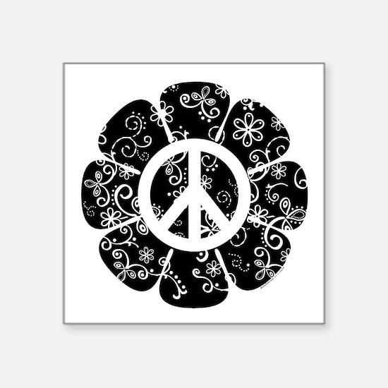 "Peace Symbol Flower Square Sticker 3"" x 3"""