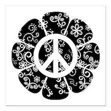 "Peace Flower Square Car Magnet 3"" x 3"""