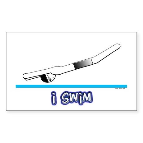 i swim (boy) black suit Rectangle Sticker