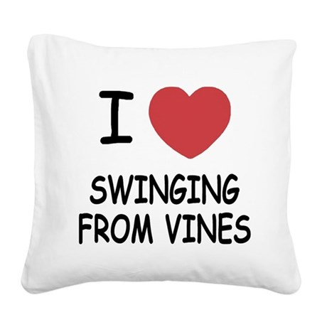 SWINGING_FROM_VINES.png Square Canvas Pillow