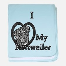 B@W Rottweiler 1 baby blanket