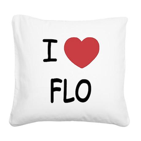 I heart Flo Square Canvas Pillow
