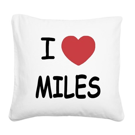 I heart miles Square Canvas Pillow