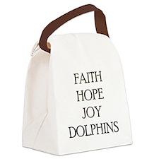 FAITH HOPE JOY DOLPHINS Canvas Lunch Bag