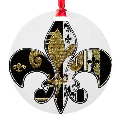 Fleur de lis bling black and gold Round Ornament