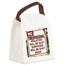 notrespassing02.png Canvas Lunch Bag