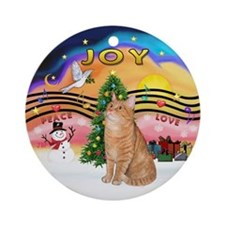 Christmas Music2-Orange Tabby Cat Ornament (Round)