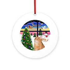 XmasWindow-Orange Tabby Cat Ornament (Round)