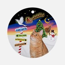 Xsigns-Orange Tabby Cat Ornament (round)