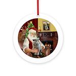 Santa's British Short Hair Cat Ornament (Round)