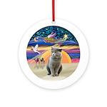 XmasAngel-British Short Hair Cat Ornament (Round)