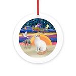 Christmas Angel - Turkish Van cat Ornament (Round)