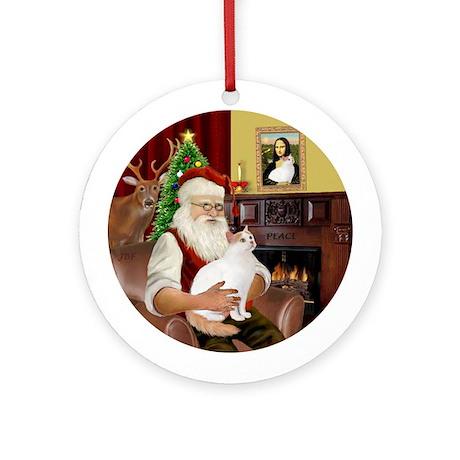 Santa's Turkish Van cat Ornament (Round)