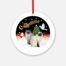 Night Flight-Two Birman Cats Ornament (Round)