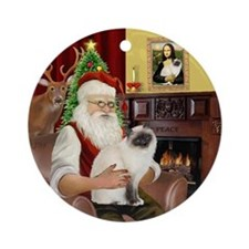 Santa's Birman Cat (#2) Ornament (Round)
