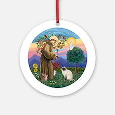 St Francis-Birman cat Ornament (Round)