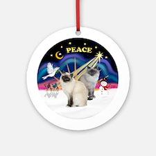 XmasSunrise-Two Birman Cats Ornament (Round)