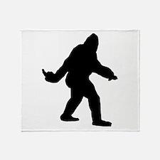 Bigfoot Flips The Bird Throw Blanket