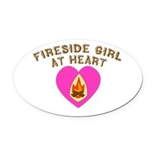 Fireside Girl at Heart.png Oval Car Magnet