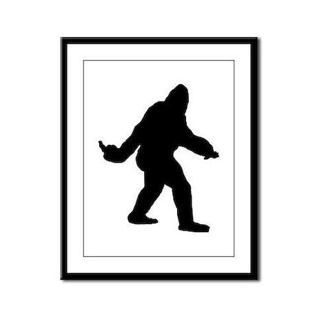 Bigfoot Flips The Bird Framed Panel Print