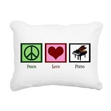 Peace Love Piano Rectangular Canvas Pillow