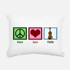 Peace Love Violin Rectangular Canvas Pillow