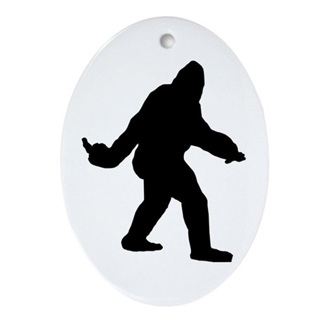 Bigfoot Flips The Bird Ornament (Oval)