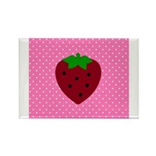 Pink Polka Dots and Strawberries Rectangle Magnet