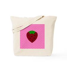 Pink Polka Dots and Strawberries Tote Bag