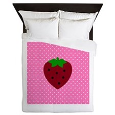 Pink Polka Dots and Strawberries Queen Duvet