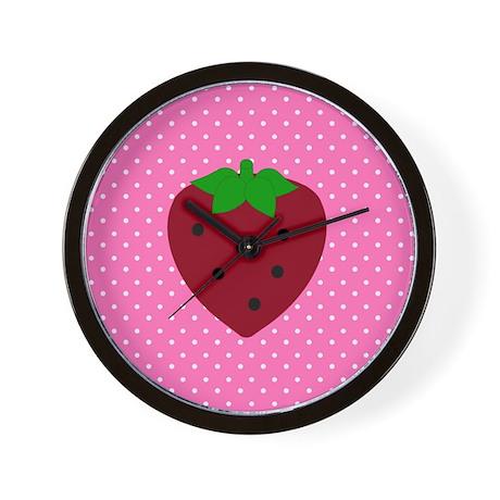 Pink Polka Dots and Strawberries Wall Clock