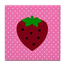 Pink Polka Dots and Strawberries Tile Coaster