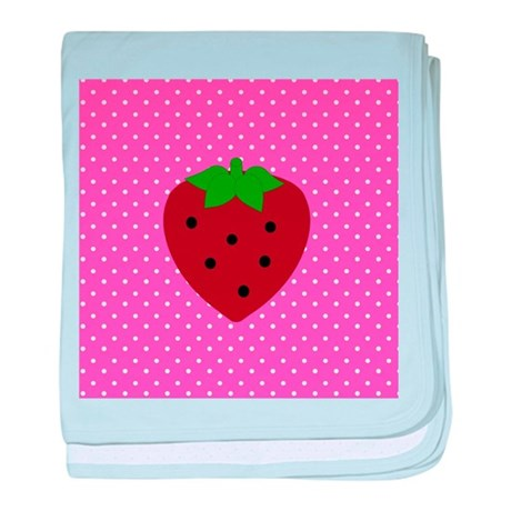 Pink Polka Dots and Strawberries baby blanket