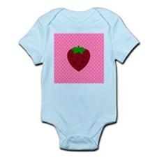 Pink Polka Dots and Strawberries Infant Bodysuit