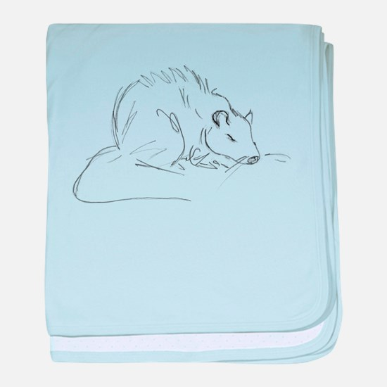 Sketch Rat baby blanket
