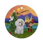 Fantasy Xmas & White Toy Poodle Ornament (Roun