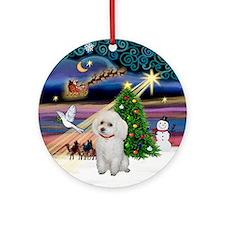 Xmas Magic & White Poodle Ornament (Round)
