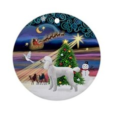 Xmas Magic & White Poodle Ornament (Round)