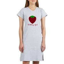 Red Strawberry Birthday Girl Women's Nightshirt