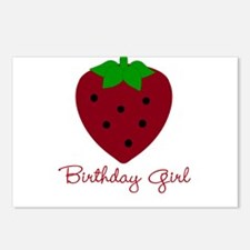 Red Strawberry Birthday Girl Postcards (Package of