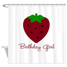 Red Strawberry Birthday Girl Shower Curtain