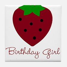 Red Strawberry Birthday Girl Tile Coaster