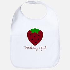 Red Strawberry Birthday Girl Bib
