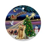 Xmas Magic & Yorkie Ornament (Round)