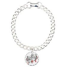 Drama Masks Silver/Red Bracelet