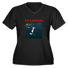 uss arizona Women's Plus Size V-Neck Dark T-Shirt