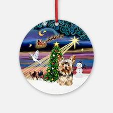 Xmas Magic & Yorkie (17) Ornament (Round)