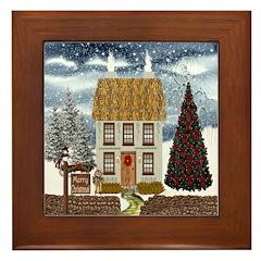 Merry Christmas Cottage Framed Tile